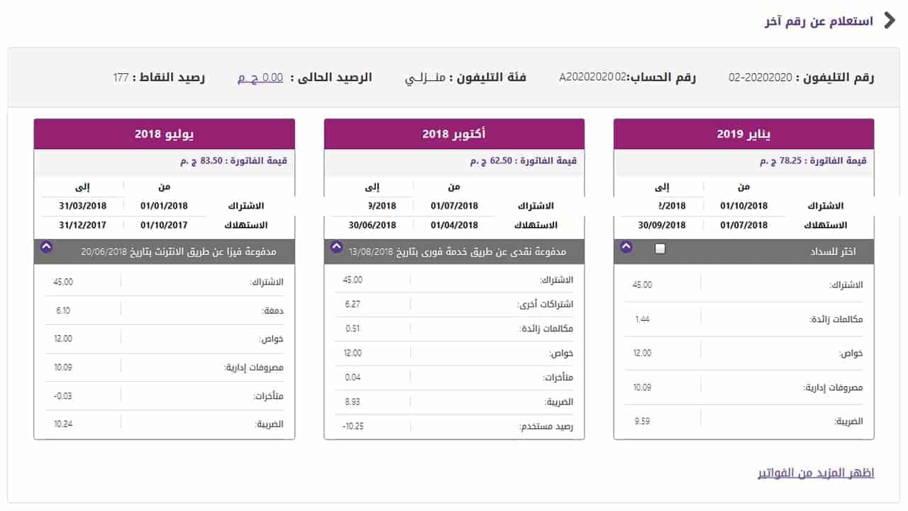 الاستعلام عن فاتورة التليفون الأرضي عبر الموقع الرسمي للشركة المصرية للاتصالات we