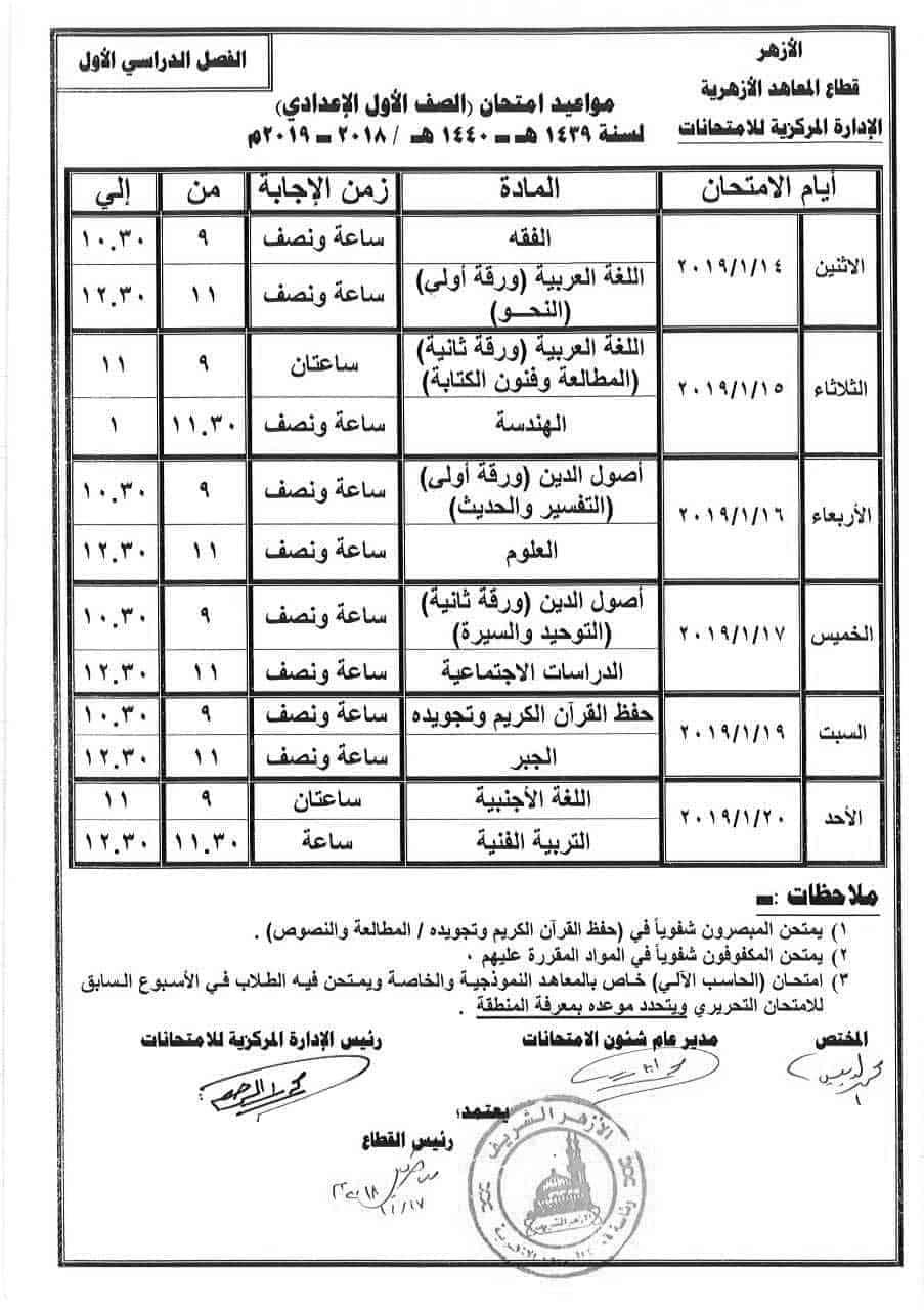 جدول امتحانات الصف الأول الإعدادي الأزهري