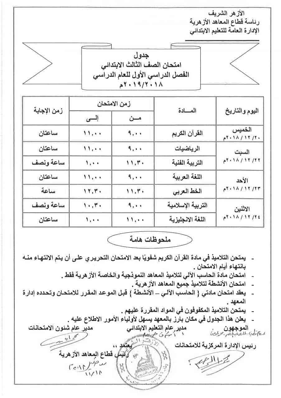 جدول امتحانات الصف الثالث الأزهري