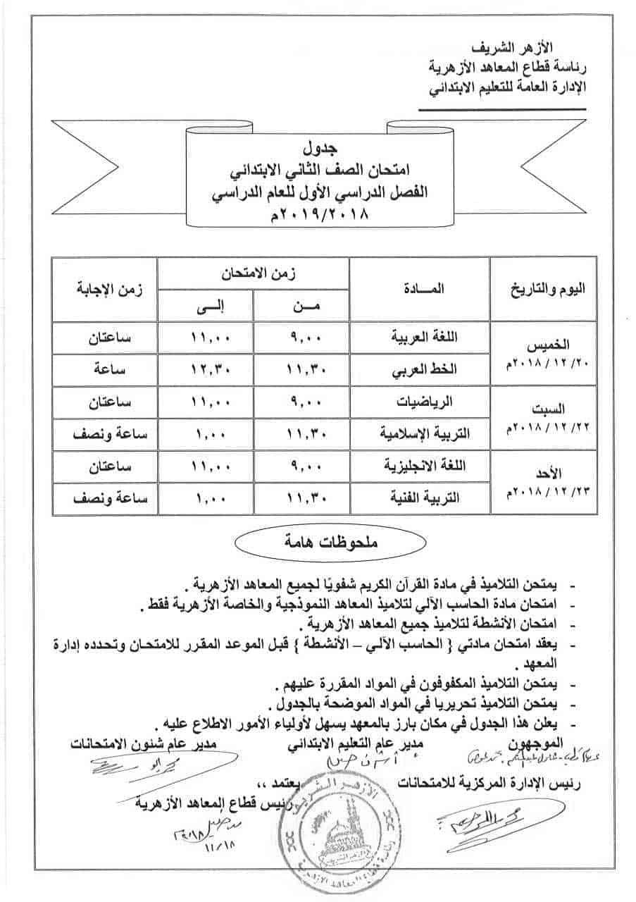 جدول إمتحانات الصف الثاني الابتدائي الأزهري