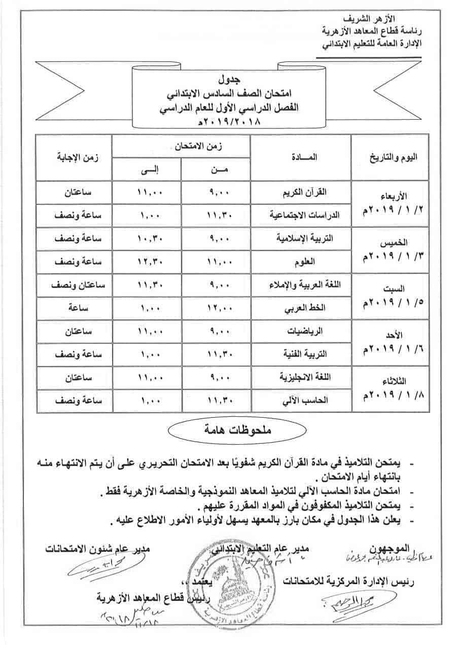 جدول امتحانات الصف السادس الابتدائي الأزهري