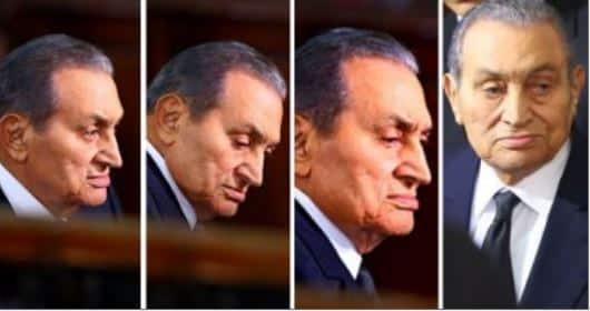 مبارك أثناء محاكمة مرسي