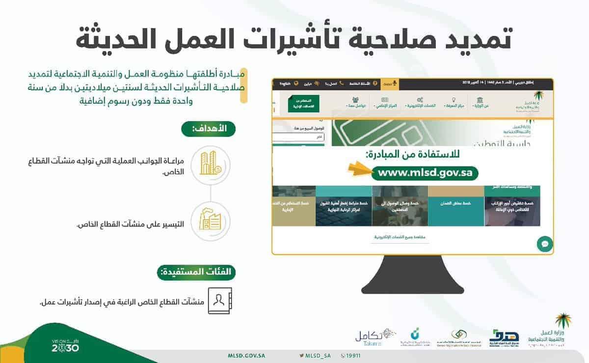 تمديد صلاحية تـأشيرات العمل السعودية