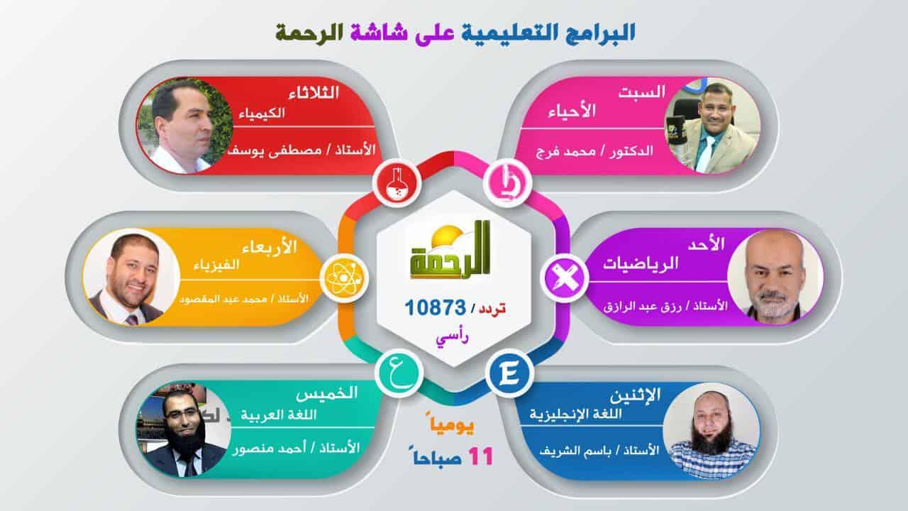 مواعيد البرامج التعليمية على قناة الرحمة